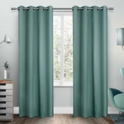 Teal Sateen Curtain Panel Set, 108 in.