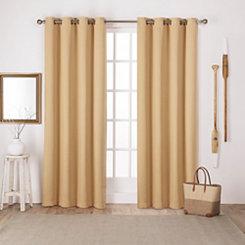Yellow Sateen Curtain Panel Set, 108 in.