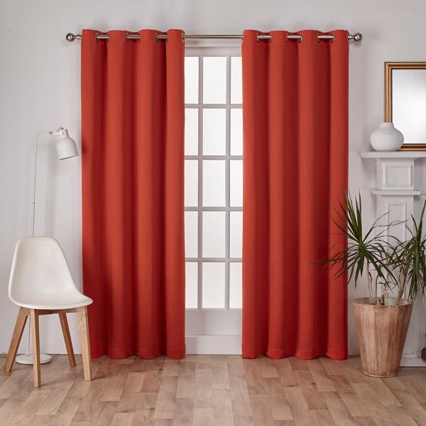 Orange Sateen Curtain Panel
