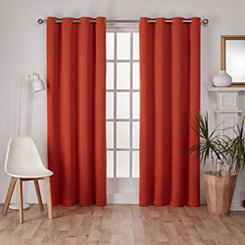 Orange Sateen Curtain Panel Set, 108 in.