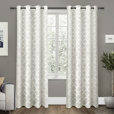 White Cartago Blackout Curtain Panel Set, 84 in.