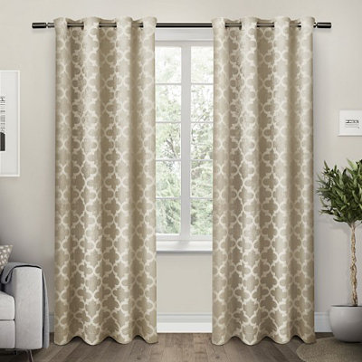 Tan Cartago Blackout Curtain Panel Set, 84 in.