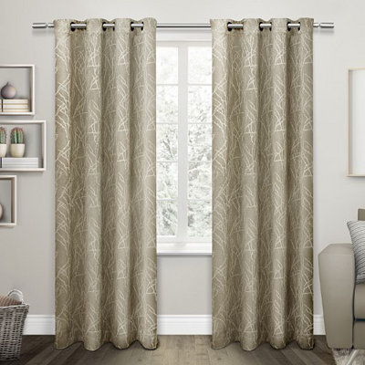 Tan Twigs Blackout Curtain Panel Set, 96 in.