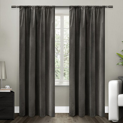 Gray Blackout Curtain Panel Set, 96 in.