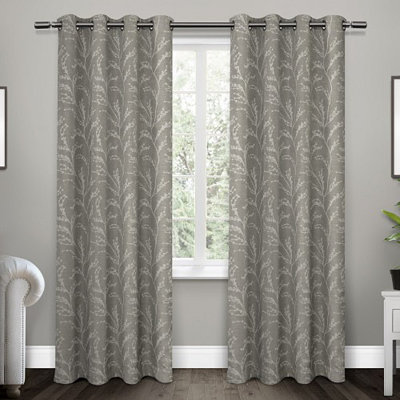 Ash Gray Kilberry Woven Curtain Panel Set, 84 in.