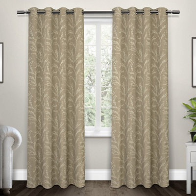 Tan Kilberry Woven Curtain Panel Set, 84 in.