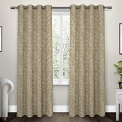Tan Kilberry Woven Curtain Panel Set, 96 in.