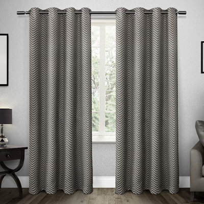 Gray Chevron Blackout Curtain Panel Set, 84 in.