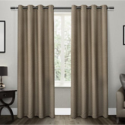 Taupe Chevron Blackout Curtain Panel Set, 84 in.