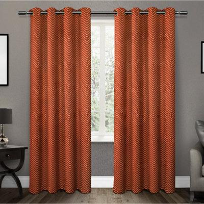 Orange Chevron Blackout Curtain Panel Set, 84 in.