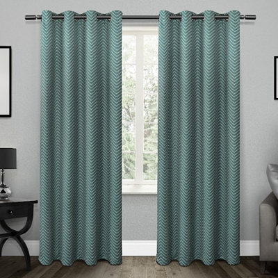 Teal Chevron Blackout Curtain Panel Set, 96 in.