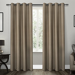 Taupe Chevron Blackout Curtain Panel Set, 96 in.