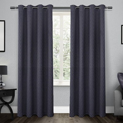 Navy Chevron Blackout Curtain Panel Set, 96 in.