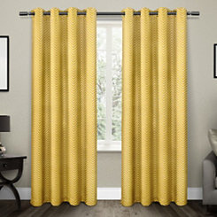 Yellow Chevron Blackout Curtain Panel Set, 96 in.