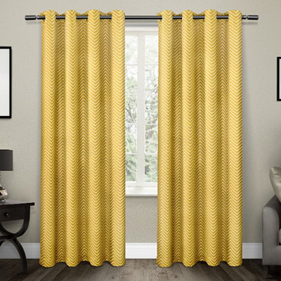 Yellow Chevron Blackout Curtain Panel Set, 96 in.