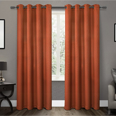 Orange Chevron Blackout Curtain Panel Set, 96 in.