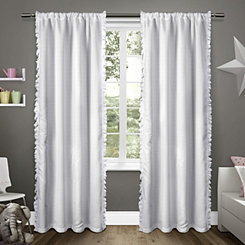 White Ruffles Kids Curtain Panel Set, 84 in.