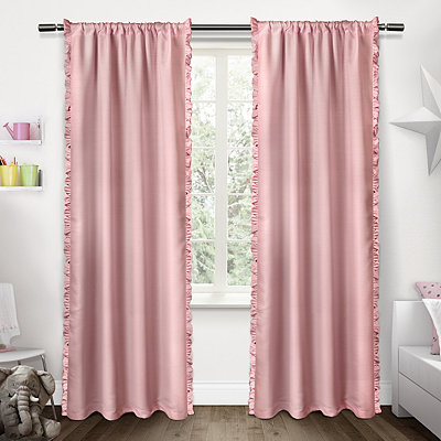 Pink Ruffles Kids Curtain Panel Set, 84 in.