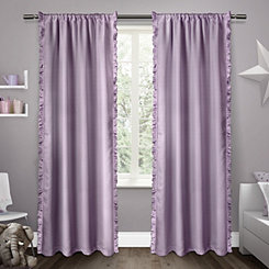 Purple Ruffles Kids Curtain Panel Set, 84 in.