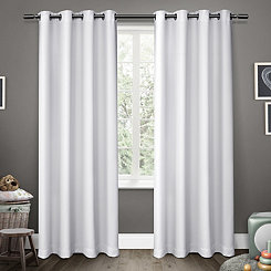 White Sateen Kids Curtain Panel Set, 63 in.