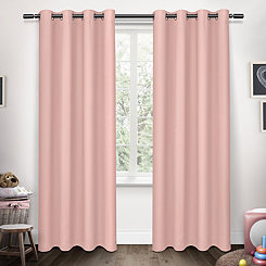 Pink Sateen Kids Curtain Panel Set, 63 in.