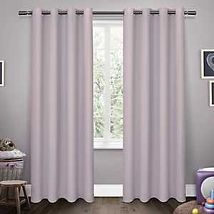 Purple Sateen Kids Curtain Panel Set, 63 in.