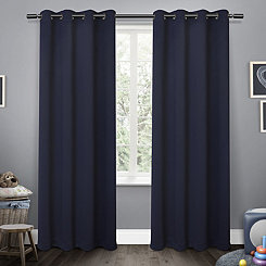 Navy Sateen Kids Curtain Panel Set, 63 in.