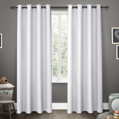 White Sateen Kids Curtain Panel Set, 84 in.