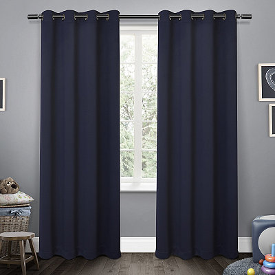 Navy Sateen Kids Curtain Panel Set, 84 in.