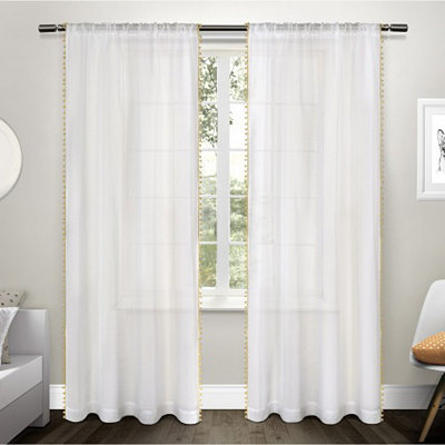 Yellow Pom Pom Sheer Curtain Panel Set, 84 in.