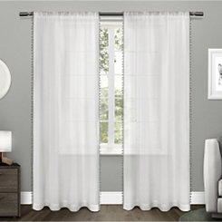 Gray Pom Pom Sheer Curtain Panel Set, 84 in.