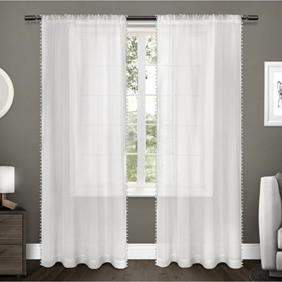 White Pom Pom Sheer Curtain Panel Set, 96 in.