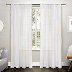 Yellow Pom Pom Sheer Curtain Panel Set, 96 in.