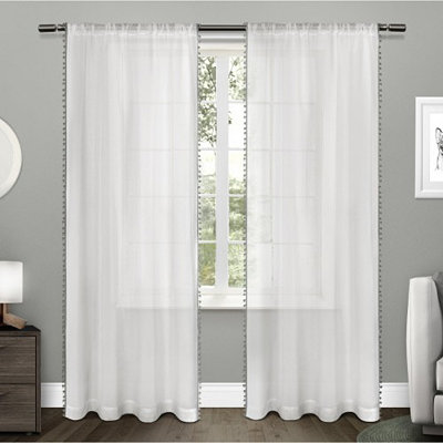 Gray Pom Pom Sheer Curtain Panel Set, 96 in.