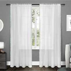 Seafoam Pom Pom Sheer Curtain Panel Set, 96 in.