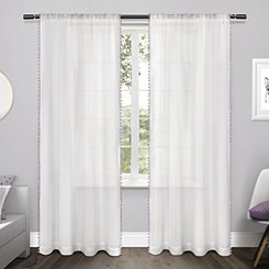 Purple Pom Pom Kids Curtain Panel Set, 96 in.