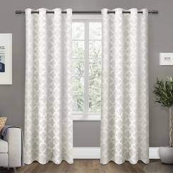 White Cartago Blackout Curtain Panel Set, 108 in.