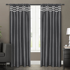 Black Pearl Bling Curtain Panel Set, 96 in.