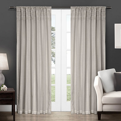 Dove Gray Crochet Curtain Panel Set, 96 in.