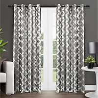 Gray Modo Geometric Curtain Panel Set, 96 in.