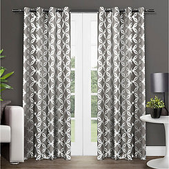 Black Modo Geometric Curtain Panel Set, 96 in.