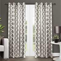 Tan Modo Geometric Curtain Panel Set, 96 in.