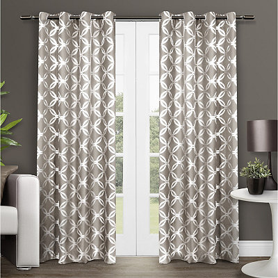Tan Modo Geometric Curtain Panel Set, 96 in.