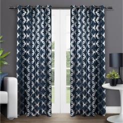 Blue Modo Geometric Curtain Panel Set, 96 in.