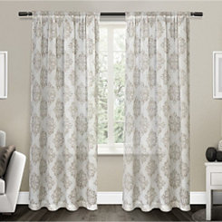 Tan Nagano Linen Curtain Panel Set, 84 in.