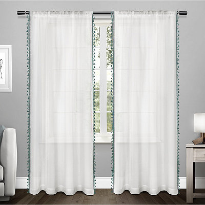 Teal Tasseled Sheer Curtain Panel Set, 84 in.