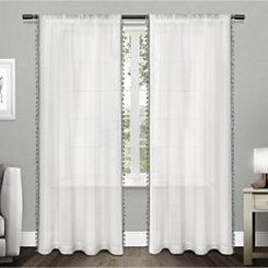 Gray Tasseled Sheer Curtain Panel Set, 84 in.