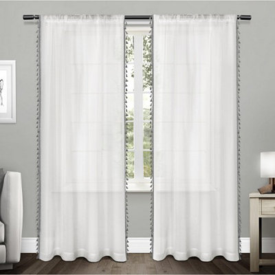 Gray Tasseled Sheer Curtain Panel Set, 84 in.