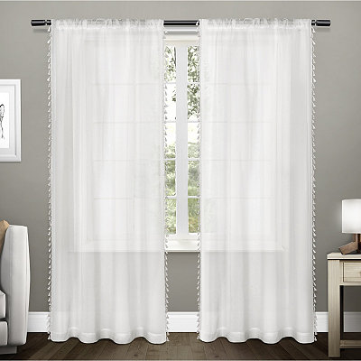 Pearl Tasseled Sheer Curtain Panel Set, 96 in.