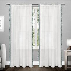 Teal Tasseled Sheer Curtain Panel Set, 96 in.